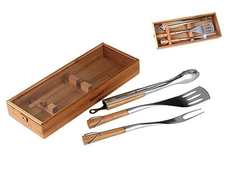 Juego de utensilios de barbacoa 4 piezas incluye caja de madera para mangos de madera accesorios