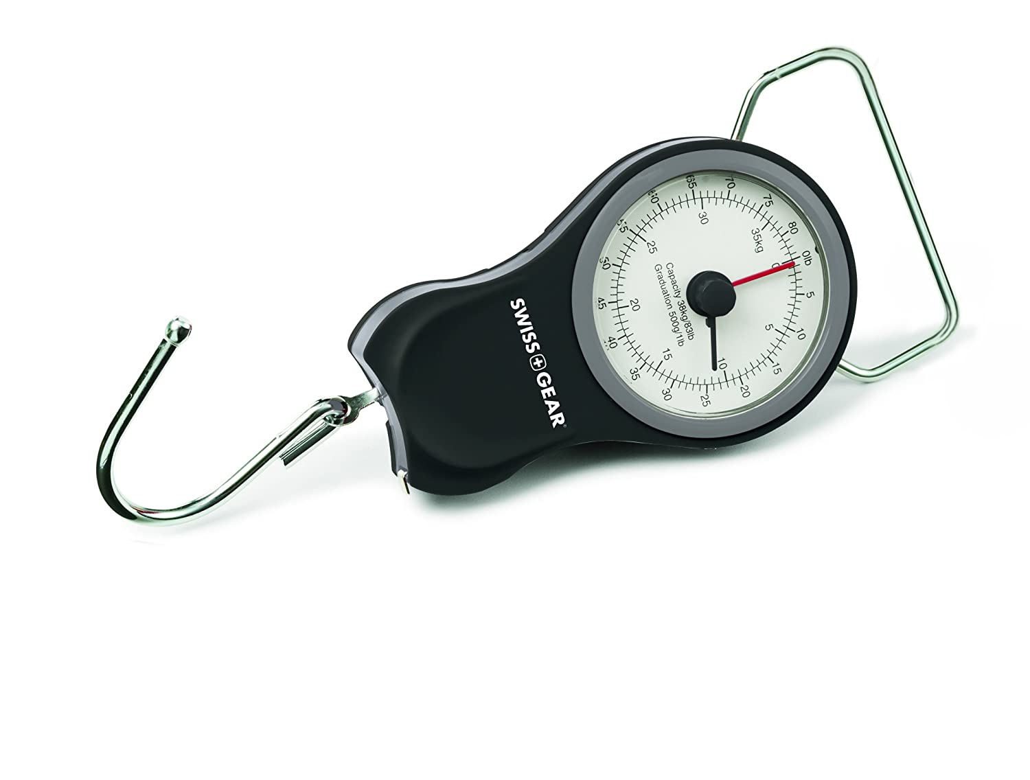 SwissGear Manual Luggage Scale with Built-in Tape Measure - Weighs Bags up to 83 Pounds and Measures Bags up to 40 Inches, Grey, One Size E&B Giftware - Samsonite WJ6306GY