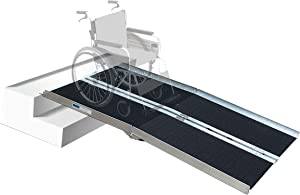 Hapelo Updated Single Fold Non-Skid Aluminum Scooter Mobility Wheelchair Ramp,7' Lightweight Portable, Holds Up 600 lbs
