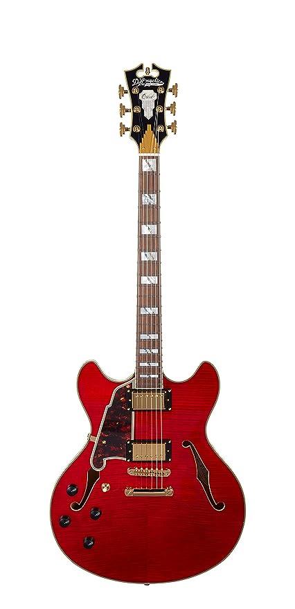 DAngelico Excel DC - Guitarra eléctrica semihueca para zurdos, color cereza