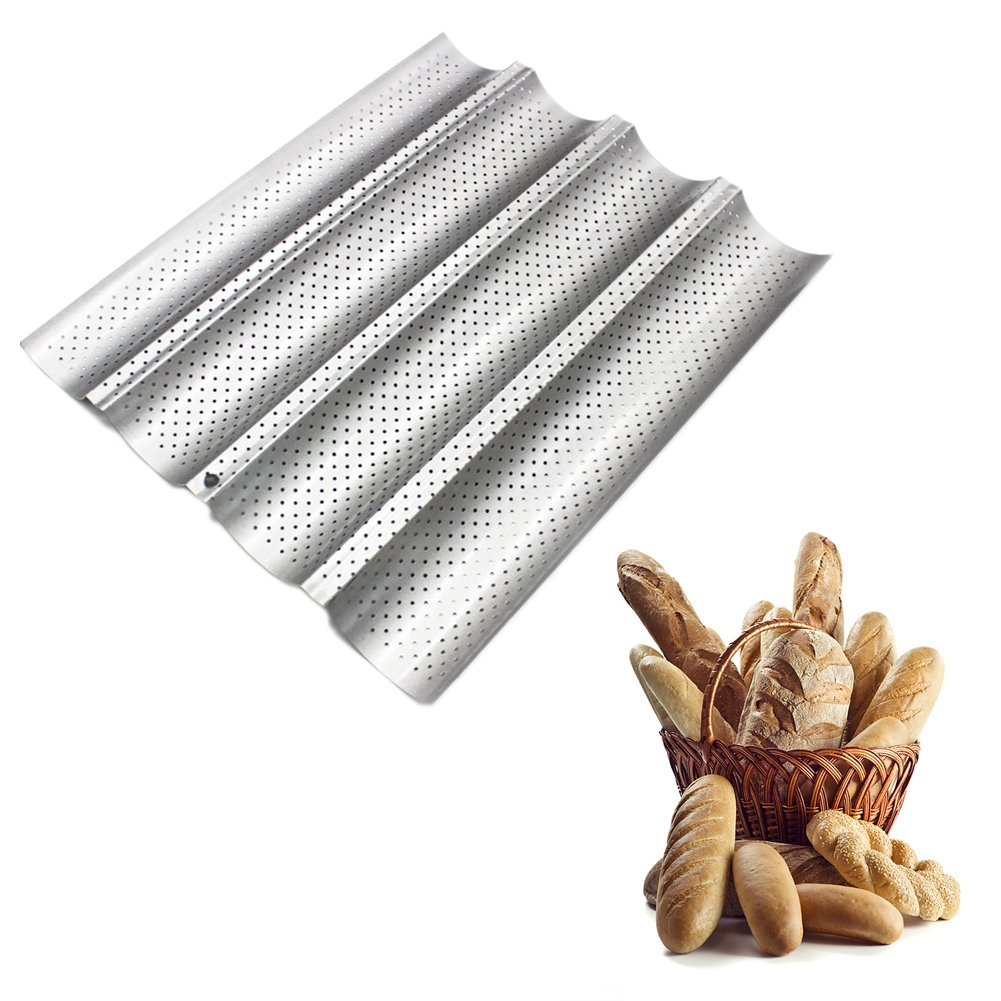 Non-stick French Bread Pan for 4 Baguettes, Heavy-duty Carbon Steel FDA Approved U-Shape Oven Roasting Baking Mould Silver