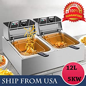 Tiziri Pro Electric Deep Fryer 5000W 12L Dual Tanks Commercial Tabletop Restaurant Kitchen Frying Machine W/ 2 Basket