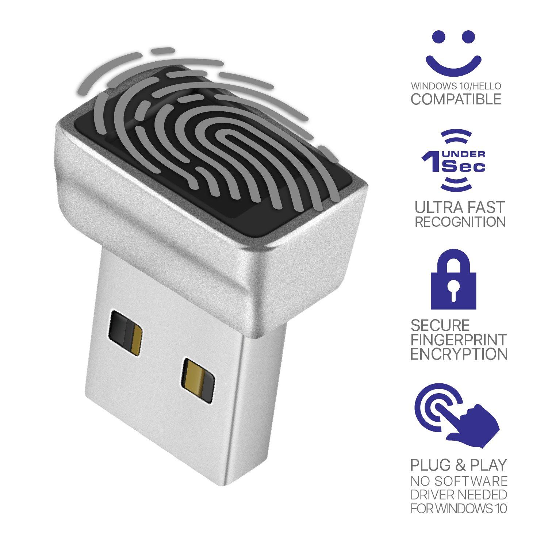 TNP Nano USB Fingerprint Reader for Windows 10 Hello - Security Key Biometric Scanner Sensor Dongle Module For Instant Acess, Password-free Login, Sign-in, Lock, Unlock PC & Laptops
