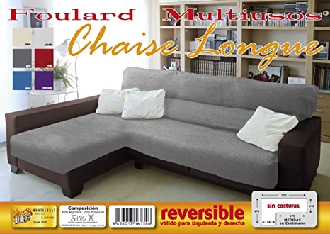 MONSERRAT Cubre Sofa Chaise Longue Reversible, Funda sofa ...