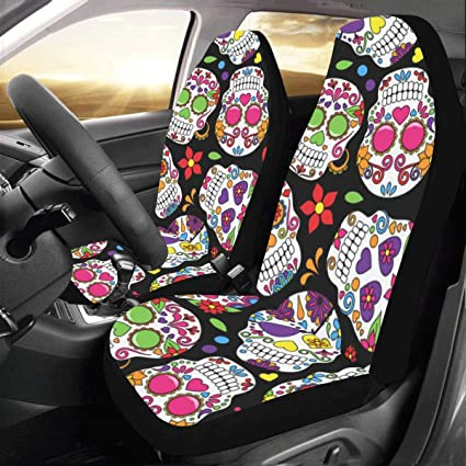 Artsadd Sugar Skull Fabric Car Seat Covers Set Of 2 Best Automobile Seats Protector