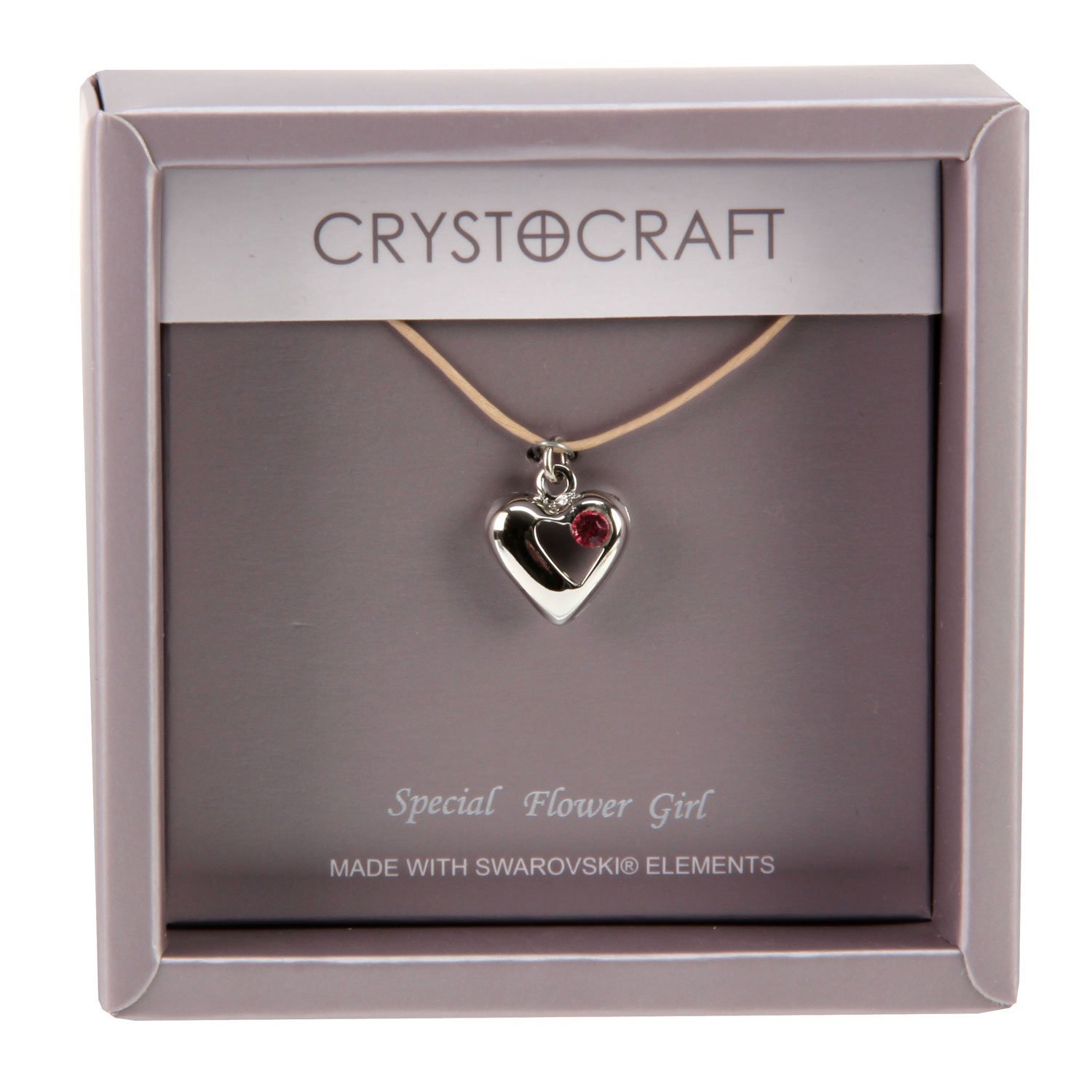 Crystocraft Our Special Flower Girl Necklace with Heart Pendant FTY2V