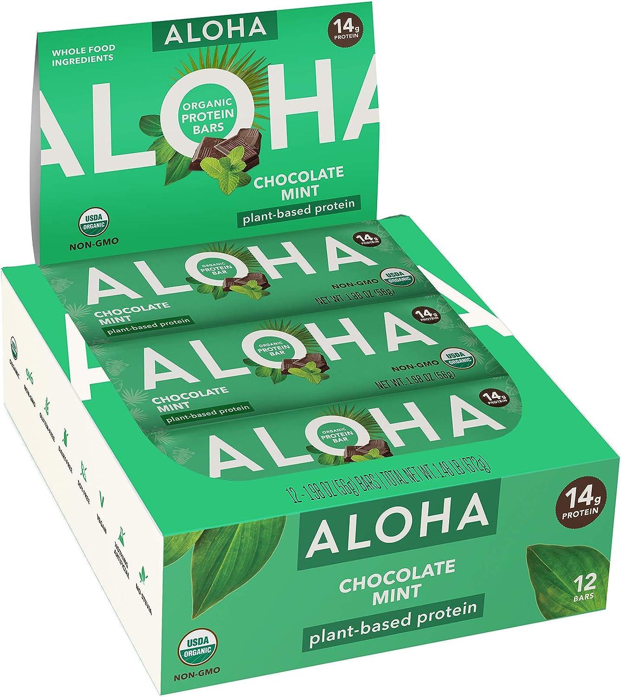 ALOHA Organic Plant Based Protein Bars |Chocolate Mint | 12 Count, 1.9oz Bars | Vegan, Low Sugar, Gluten Free, Paleo, Low Carb, Non-GMO, Stevia Free, Soy Free, No Sugar Alcohols