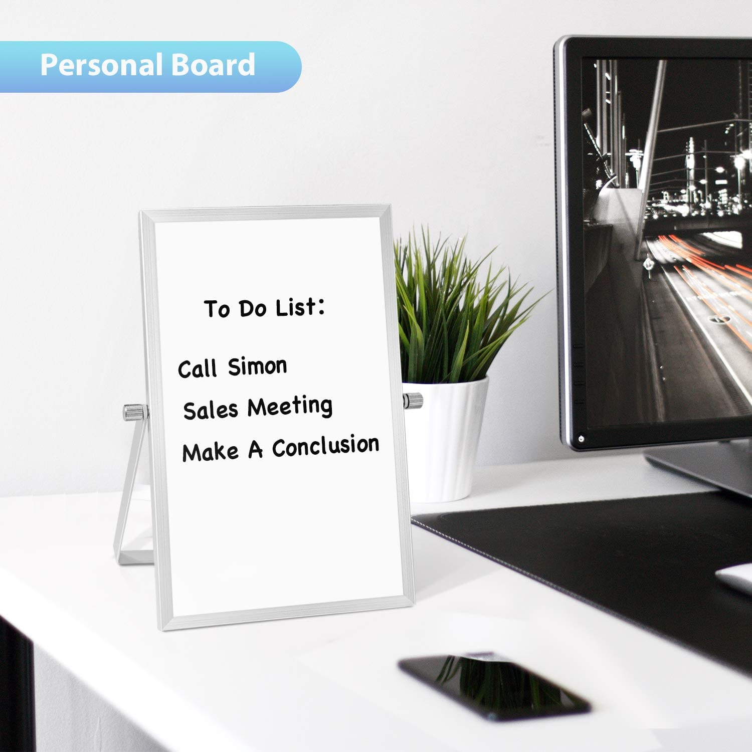 Small Dry Erase White Board Portable Mini Easel Board for Kids Drawing Cubicle Planning Memo Board ARCOBIS 12 x 16 Magnetic Hanging Double-Sided Whiteboard for Wall Kitchen Grocery List
