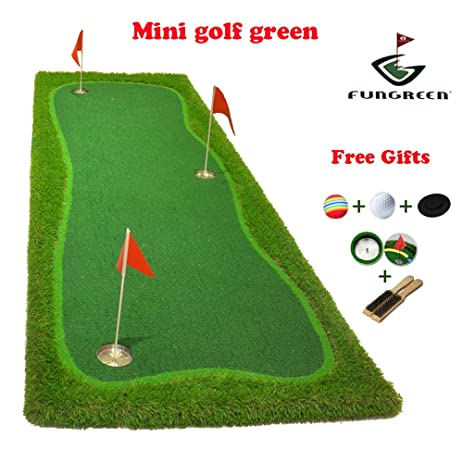 FUNGREEN Mini Golf Green 100x300cm Indoor Training Putting Pad Practice  Hole Cup Holder Outdoor Backyard Golf