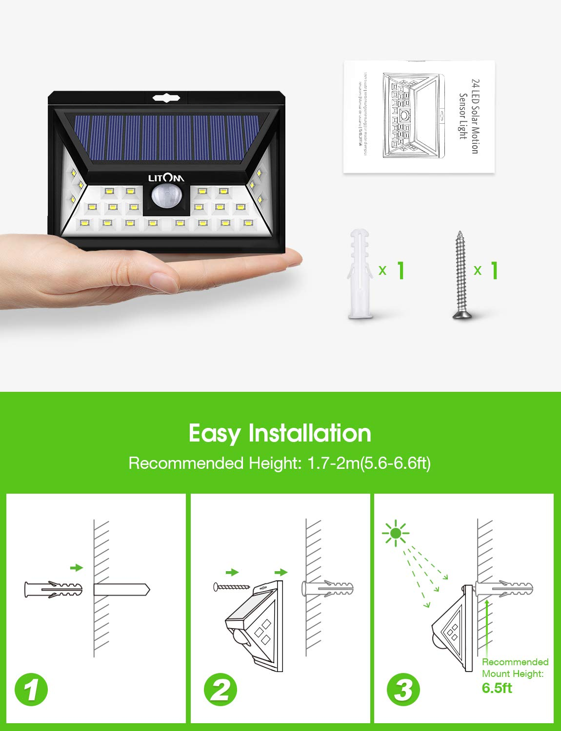 Easy-to-Install Security Lights for Front Door IP65 Waterproof Yard 3 Optional Modes Wireless Motion Sensor Light with 270/° Wide Angle LITOM Original Solar Lights Outdoor Deck Garage