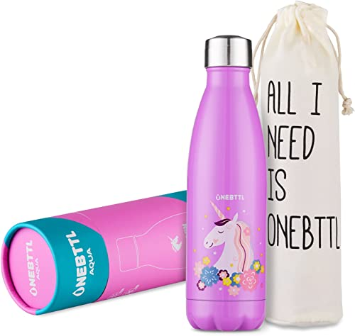 Onebottl UnicornPower Stainless Steel Water Bottle Review bright pink decorated with unicorn