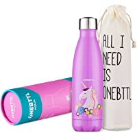 Water Bottle for Kids, Water Bottle Stainless Steel Insulated, BPA Free, Unicorn Party Supplies, Pink Unicorn Bottle for Kids, Girls, Ladies, for Hot and Cold Drinks- Onebttl Aqua UnicornPower (17oz/500ml)