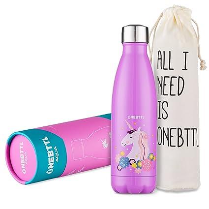 Unicornio Botella Agua Sin Bpa Niños Acero Inoxidable Cosas De