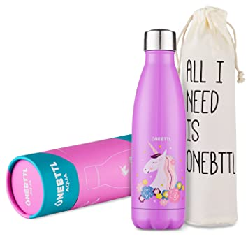Unicornio Botella Agua sin bpa niños Acero Inoxidable, Cosas de Unicornios para niñas cumpleaños y Fiesta Destello, cantimplora Infantil niña 500ml ...