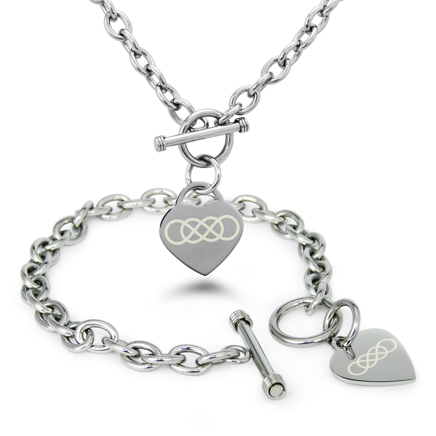 Stainless steel double infinity symbol engraved heart charm bracelet stainless steel double infinity symbol engraved heart charm bracelet and necklace new free shipping from the usa biocorpaavc Image collections