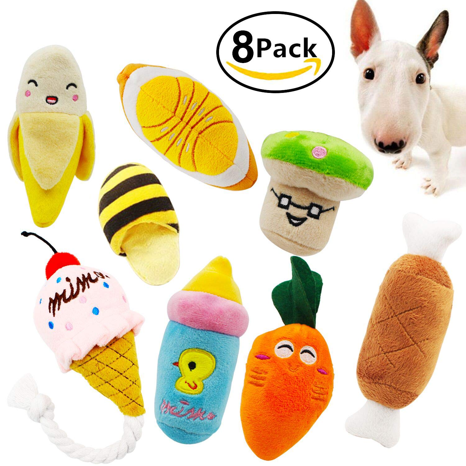 Squeaky Dog Toys Ulable Pet Puppy Plush Sound Chew Toy Set For Small Medium Dogs And Cats Colours Vary 8 Pack Co Uk Supplies