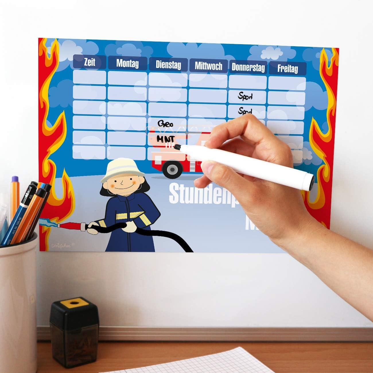 Striefchen/® Magnetischer Stundenplan mit Namen f/ür Jungen zum Beschriften perfekt zum Schulanfang Schultafel