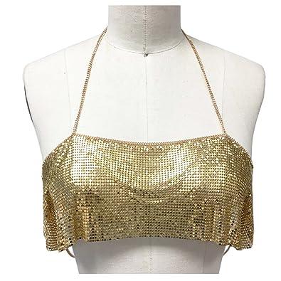 37264e2a0f9ce Amazon.com  Disco chain mail metal bralette chain bralette  Jewelry