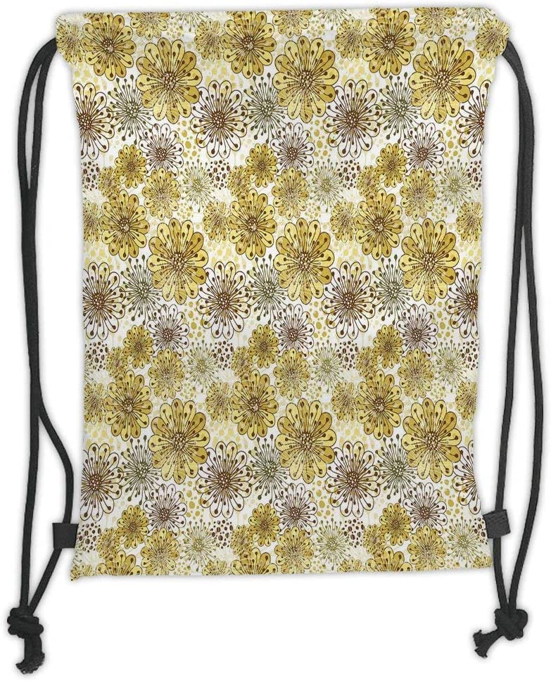 Brown Flower Blossoms Gym Bag