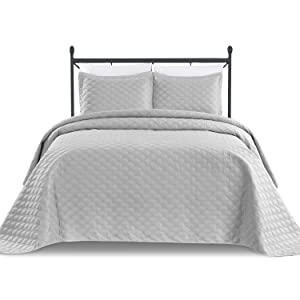 BASIC CHOICE 3-Piece Oversized Quilted Bedspread Coverlet Set - Silver, Light Gray, Fits Full or Queen Extra Thick Bed