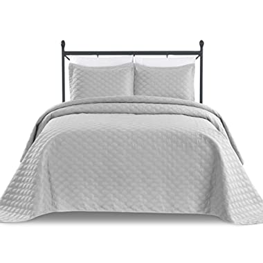 Basic Choice 3-Piece Oversized Quilted Bedspread Coverlet Set - Light Gray, King/California King