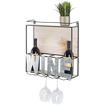 Amazoncom Wall Mounted Wine Rack Wine Bottle Holder Wine Glass