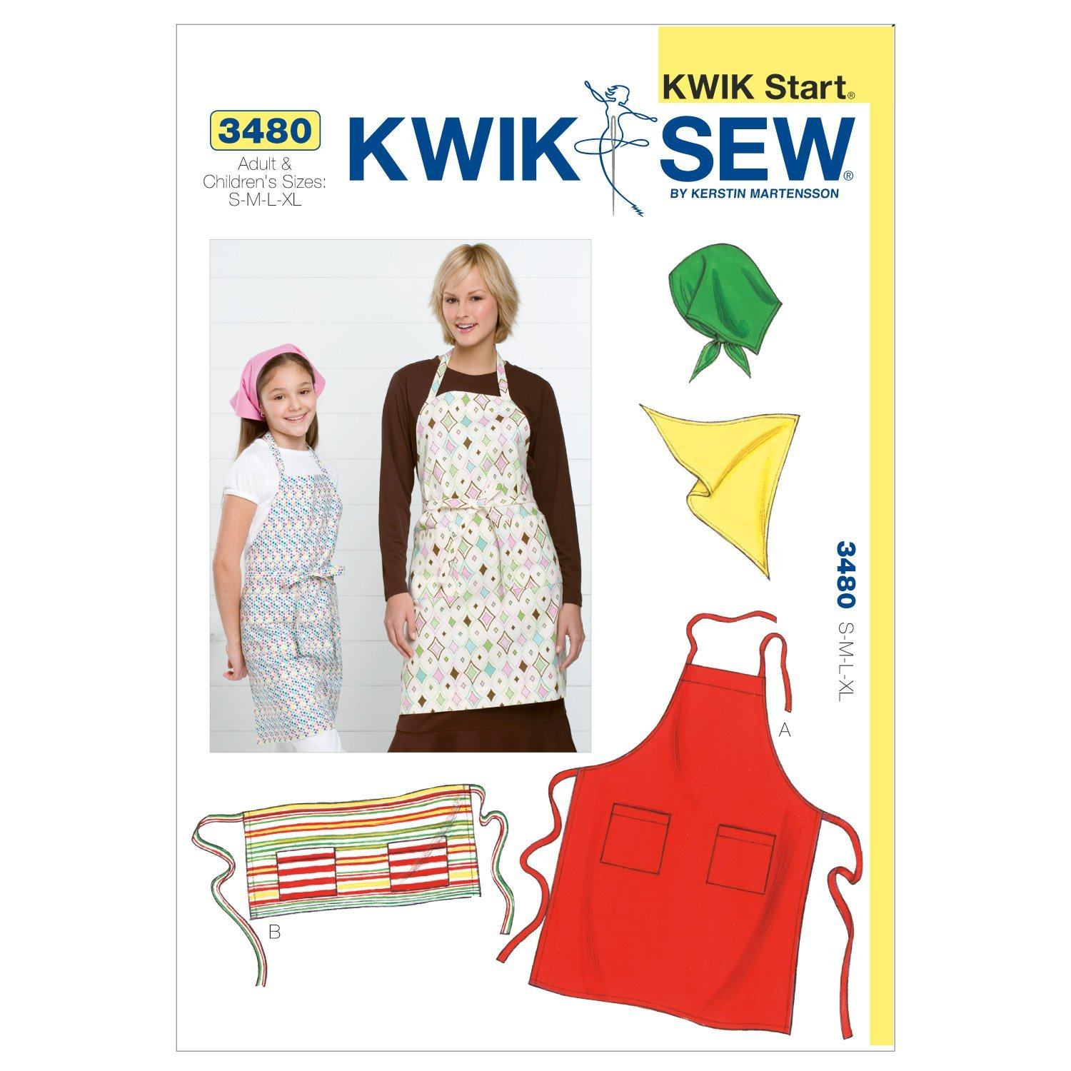 Kwik Sew K3480 Aprons and Scarf Sewing Pattern Size S-M-L-XL