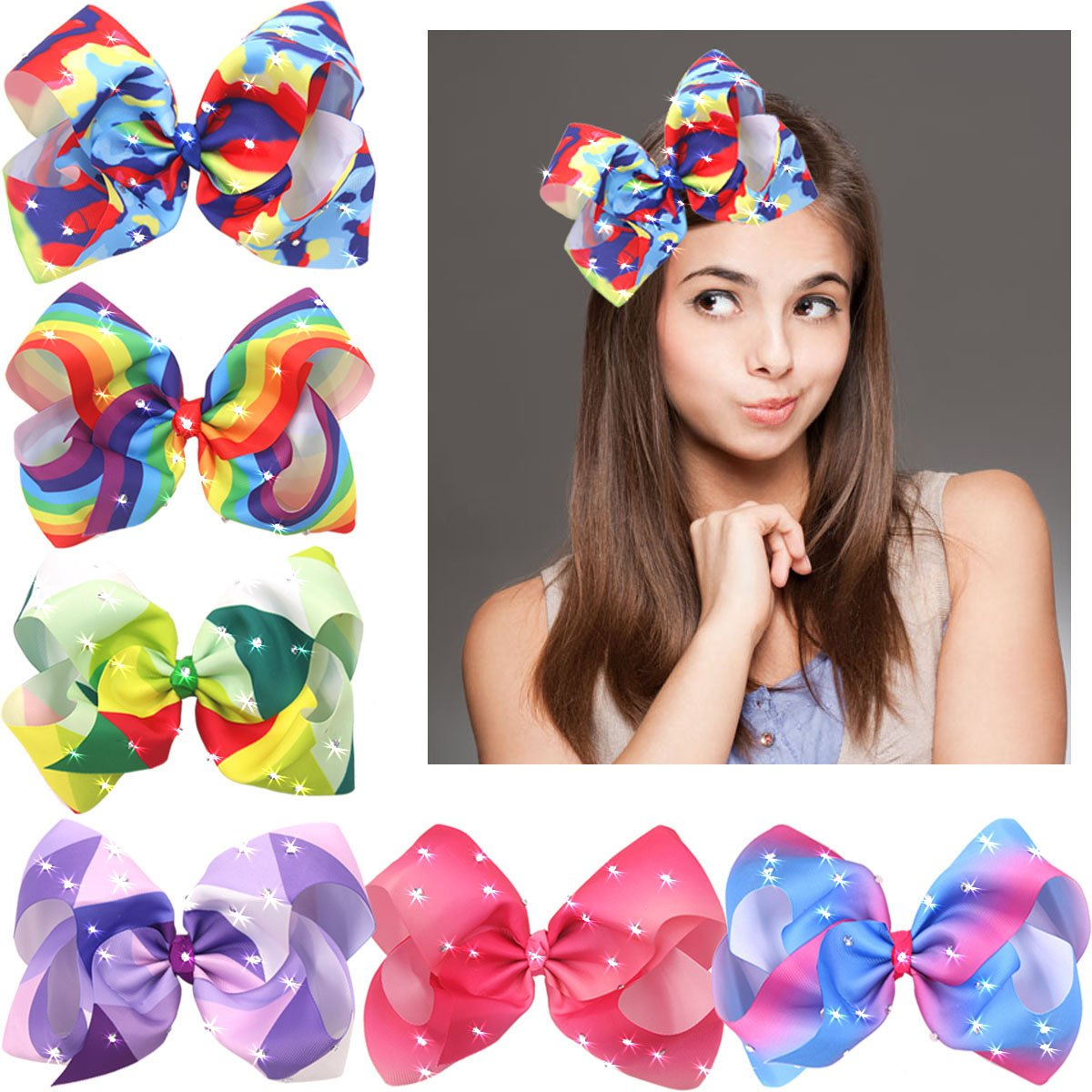 8 Inches Big Giant Grosgrain Ribbon Boutique Bling Sparkly Rainbow Hair Bows Clips For Baby Girls Teens Toddlers Gifts Set Of 6 by CELLOT