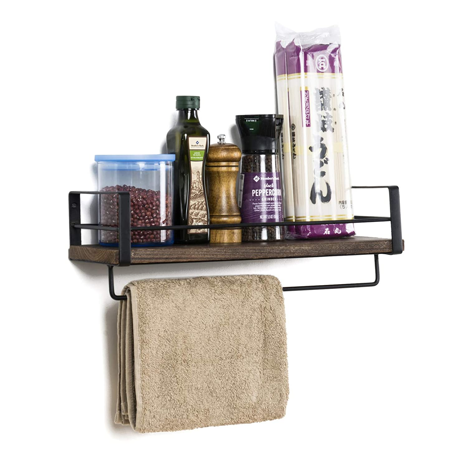 Soduku Rustic Kitchen Wood Wall Shelf, Spice Rack Shelf with Towel Bar,Wood and Metal Floating Shelves Wall Mounted Toilet Storage Shelf for Kitchen Bathroom Bedroom Living Room