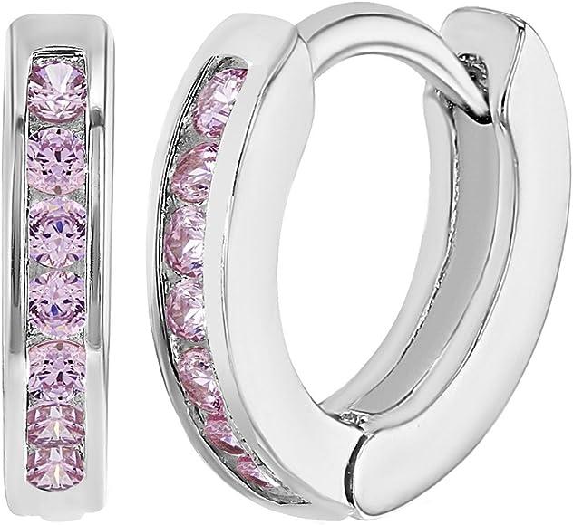 Rhodium Plated Pink Crystals Small Huggie Heart Girl Hoop Earrings 0.39