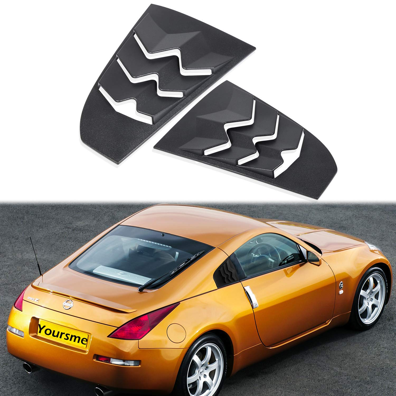 Yoursme Window Louver for 2003-2008 Nissan 350Z Rear Quarter Side Window Scoop Cover Matte Black ABS by Yoursme