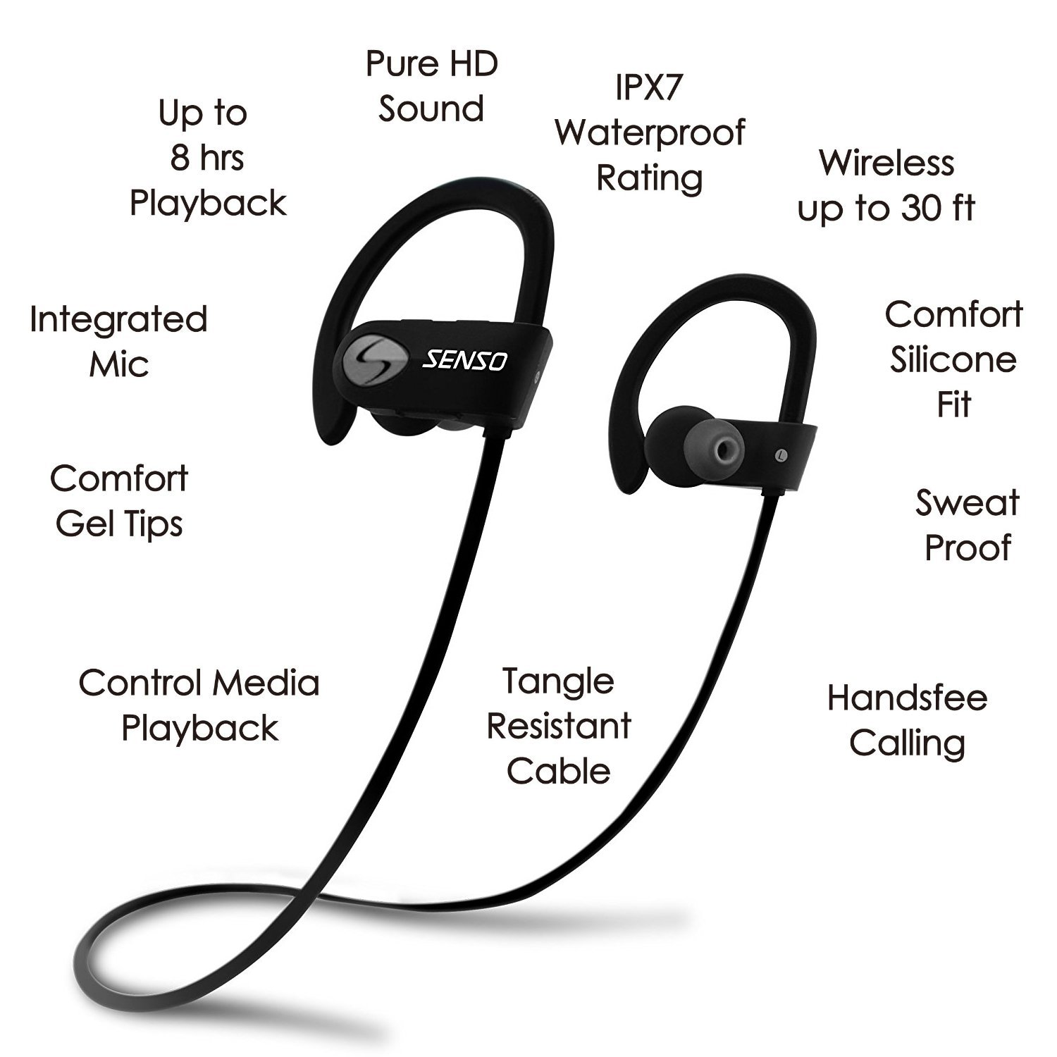 SENSO Bluetooth Headphones, Best Wireless Sports Earphones w/Mic IPX7 Waterproof HD Stereo Sweatproof Earbuds for Gym Running Workout 8 Hour Battery Noise Cancelling Headsets (Grey) by Senso (Image #4)