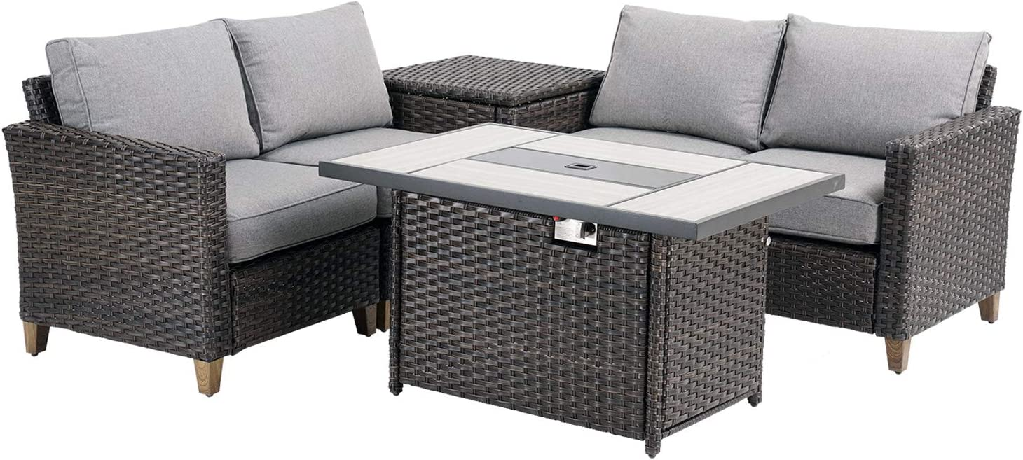 Grand patio Outdoor Conversation Set with Fire Pit, 6 PCS Outdoor Furniture Set Sectional Sofa Set, Wicker Patio Sofa & Fire Pit Table Backyard & Garden Set with Rattan Side Cabinet