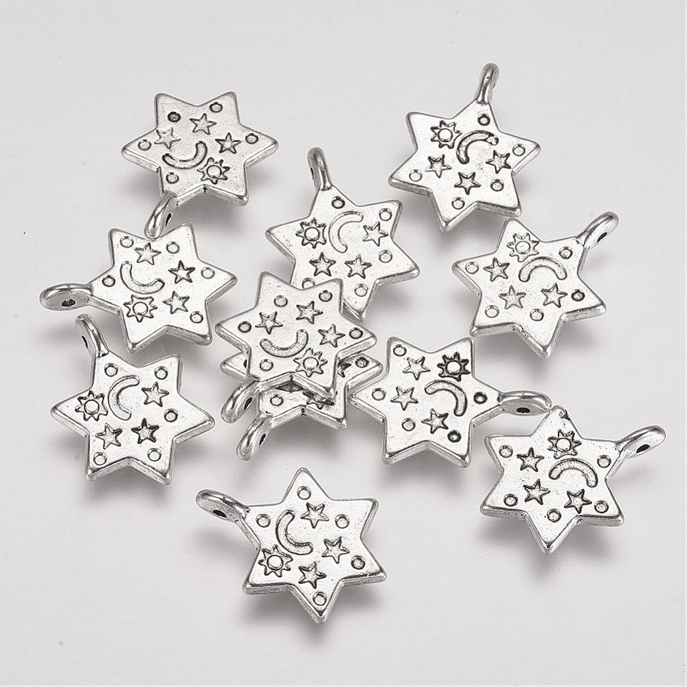 20 Star Charms Antique Silver Tone Moon /& Stars Etched Back /& Front 19mm P00150J