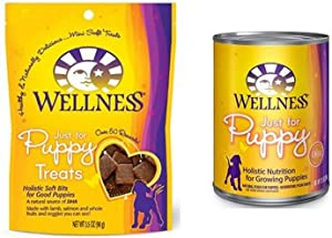 Wellness Puppy Food Starter Pack: Just For Puppy Natural Wet Canned Dog Food & Treats