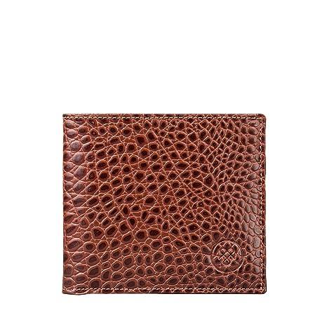 Maxwell Scott® Cartera de dos secciones con monedero interior en piel Italiana con Grabado tipo