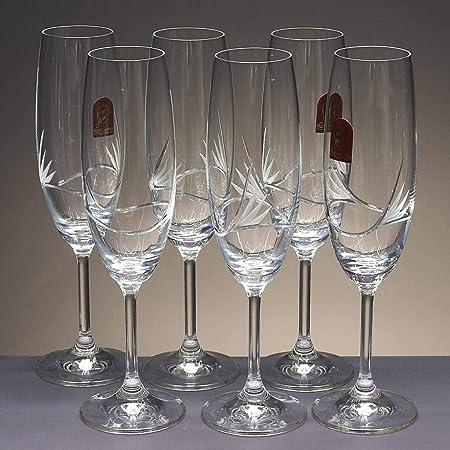 la galaica | Caja 6 Copas de Cristal para champán - Cava o espumosos - talladas a Mano - Colección CRISTALLIN | para Reuniones con Amigos y Familiares | Diseño Moderno: Amazon.es: Hogar