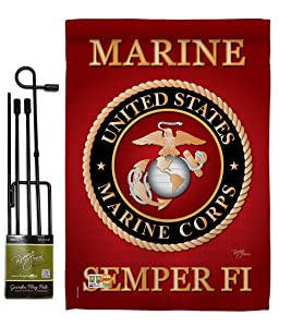 """Breeze Decor GS108057-BO Marine Corps Americana Military Impressions Decorative Vertical 13"""" x 18.5"""" Double Sided Garden Flag Set w/Banner Pole Included Printed in USA"""
