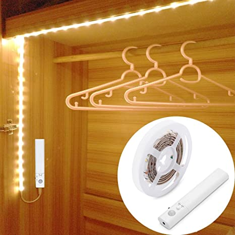 LUXJET Motion Sensor Closet Lights, Flexible LED Strip Kit With Motion  Activated Rope Light For