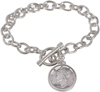 product image for American Coin Treasures Sterling Silver Mercury Dime Toggle Bracelet