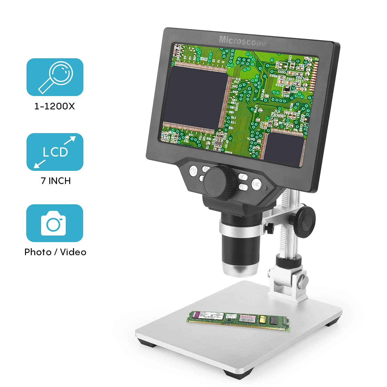 LCD Digital Microscope 7 in HD Screen 1200X Magnification Zoom Camera Video Recorder Angle Adjustable Microscope, 8 LED Lights, Built-in 3000 mAh Battery Rechargeable by Amoper