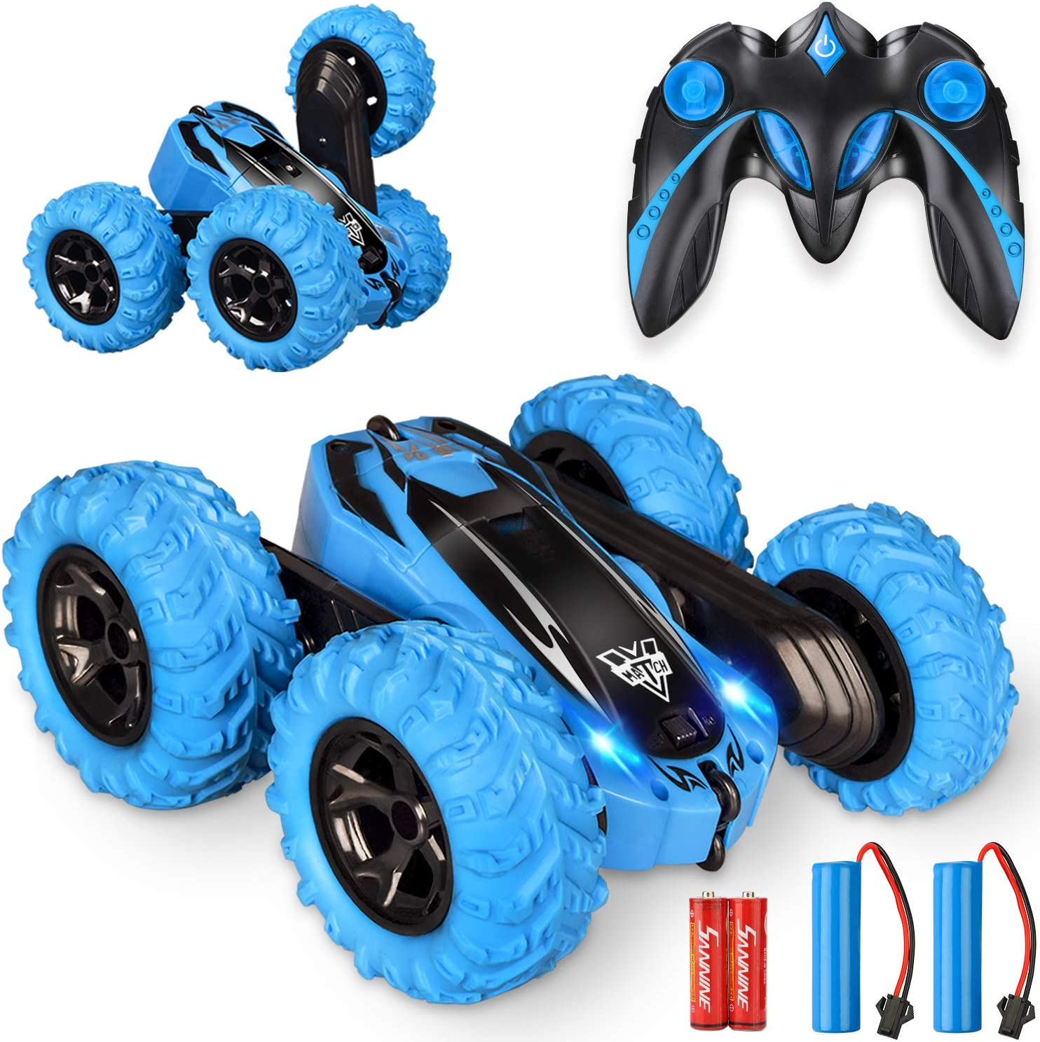 Amazon Com Remote Control Car 2 4ghz Electric Race Stunt Car Double Sided 360 Rolling Rotating Rotation Led Headlights Rc 4wd High Speed Off Road For 3 4 5 6 7 8 12 Year Old Boy Toys Toys Games