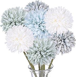 DearHouse Artificial Flowers, 7 Pcs Fake Flowers Silk Artificial Hydrangea Bridal Wedding Bouquet for Home Garden Party Wedding Decoration (Multicolor)