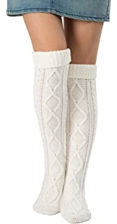 3fe67c3a571 Leotruny Women s Diamond Knit Knee Winter Leg Warmers High Boot Socks