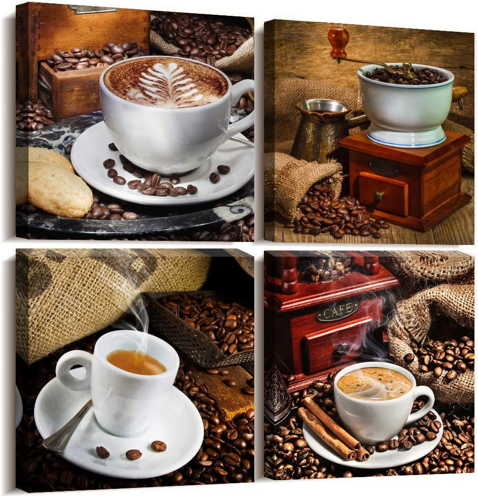 4 Panels Modern Kitchen Wall Decor Coffee Canvas Wall Art for Dining Room Restoring Ancient Ways Coffee Tableware Pictures Coffee Shop Giclee Watercolor Painting Home Decoration Prints Artwork