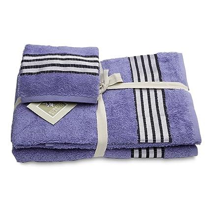 Burrito Blanco - Juego de toallas 96 lila de 30x50, 50x100 y 70x140 cm