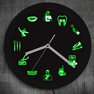 The Geeky Days Dentist Dental Clinic Neon Wall Clock Sign Tooth Dental Office Hygienist LED Lighting Decor Gift