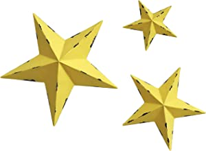 YL Crafts - Metal Star Wall Decoration Mounted Wall Art 3pcs/Set (Yellow)