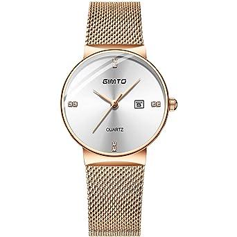 92fb8b411f Amazon   腕時計 レディース 超薄型 GIMTOO 7MM ククラッシー 腕時計 月 50mm 生活防水 女性用 ローズゴールド   レディース 腕時計   腕時計 通販