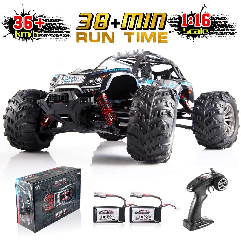 Soyee 1:16 RTR RC Car 4WD 2.4GHz Remote Control Monster Truck All Terrain 36km/h Off-Road Waterproof Vehicle Toys for Kids & Adults 1000mAh Batteries x2 38+mins Playing time